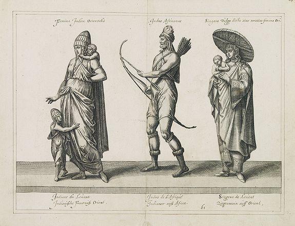 DE BRUIJN, A. -  [No title] Femina indica Orientalis -  Indus Africanus - Singava vulgo dicta sive erratica femina Ori.
