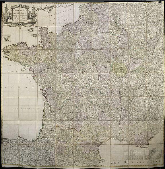 PROBST, J.M. -  Carte de France divisée en LXXXIII departements Reduitte en neuf Feuilles égalles aux 24 Petittes de Illustre CASSINI. . .