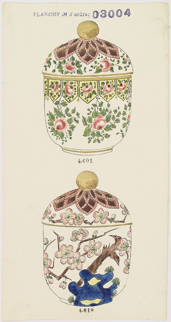 Gabriel FOURMAINTRAUX / DESVRES,  Designs for two porcelain bowls with Chinese design., antique map, old maps