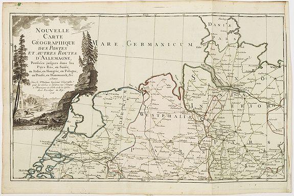 Desnos. -  Nouvelle carte géographique des postes et autres routes d'Allemagne. . .