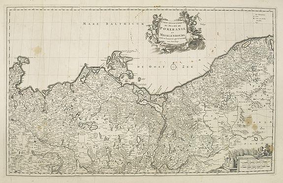 VISSCHER, N. -  Carte g�ographique du duch� de Pomeranie et de Mecklenbourg. . .