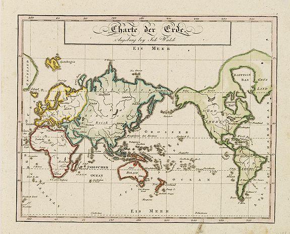 WALCH, J. -  Charte der Erde. Augsburg beij John Walch.