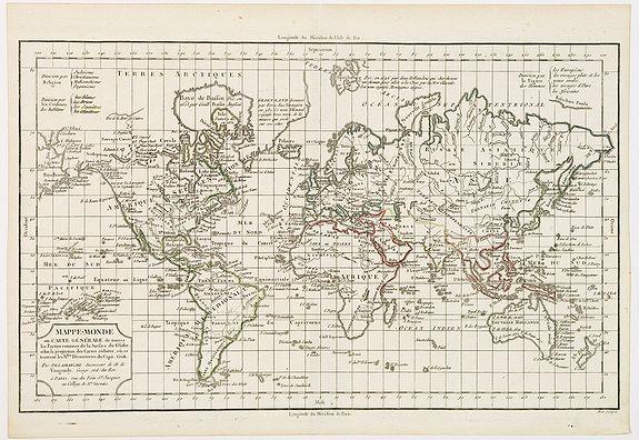 VAUGONDY, R. de / DELAMARCHE. - Mappe-Monde ou carte générale de toutes les parties du globe, corrigée et augmentée des découvertes du Cap, Cook, de celles de la Pérouse en 1881. de Vancouver, de Mackensie en 1882, auxquelles sont ajoutées celles faites dans la Mer du Sud. . .
