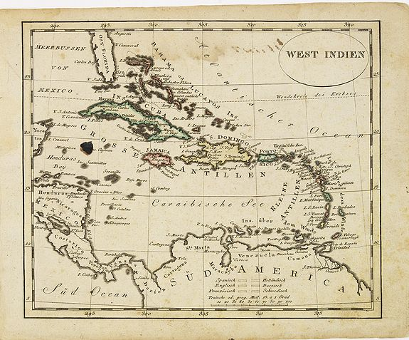 WALCH, J.,  West indien., antique map, old maps