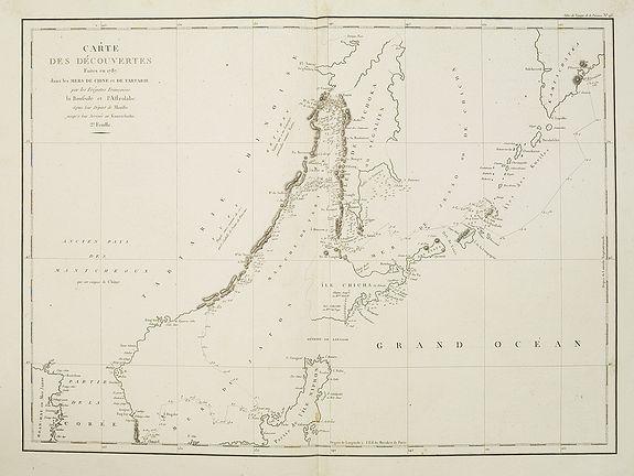 LA PÉROUSE, J.F.G -  Carte des découvertes fautes en 1787 dans les Mers de Chine et de Tartarie par les Frégates Françaises la Boussole et l'Astrolabe. . . ée. Feille.
