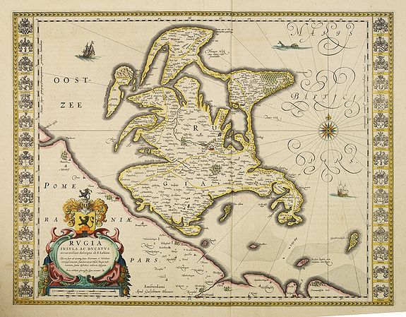BLAEU, W.,  Rugia Insula ac ducatus. . ., antique map, old maps