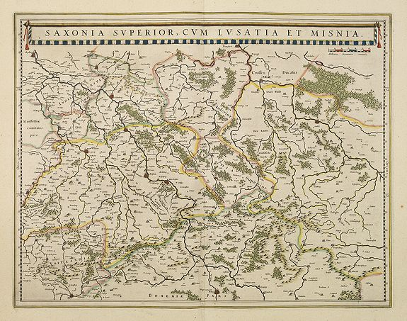 BLAEU, W.,  Saxonia Superior, cum Lusatia et Misnia., antique map, old maps