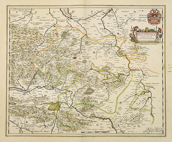 BLAEU, J.,  Mansfeldia Comitatus. . ., antique map, old maps