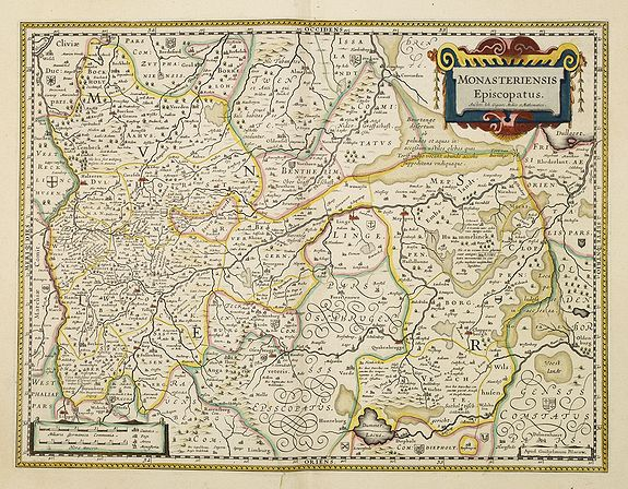 BLAEU, W.,  Monasteriensis Episcopatus., antique map, old maps