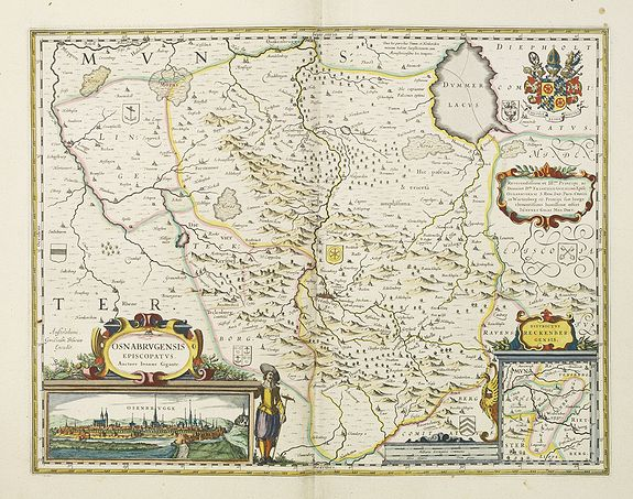 BLAEU, J.,  Osnabrugensis episcopatus., antique map, old maps