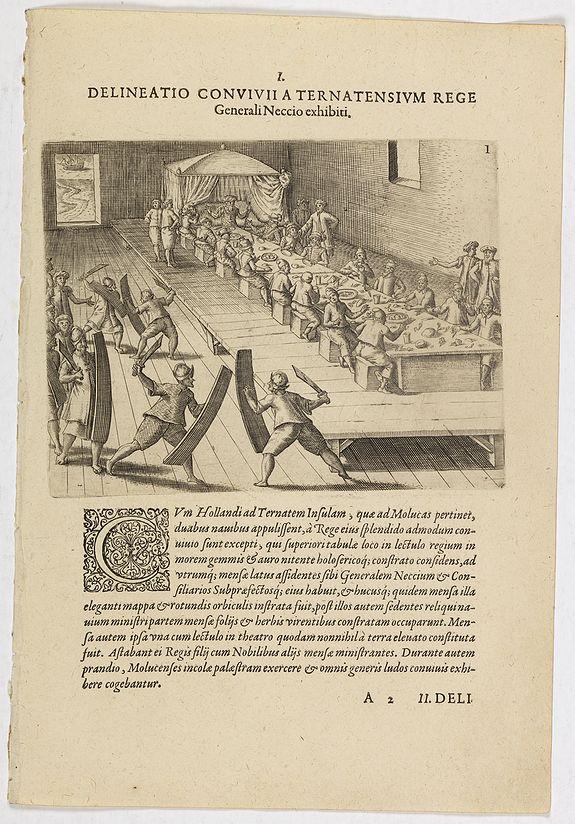 DE BRY, Th. -  I. Delineatio convivii a Ternatensium rege Generali Neccio exhibiti.