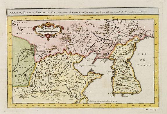 BELLIN, J.N. -  Carte du Katay, ou Empire de Kin : pour servir a l'Histoire de Jenghiz Khan, raportée dans l'Histoire generale des voyages, tirée de l'Angloise.