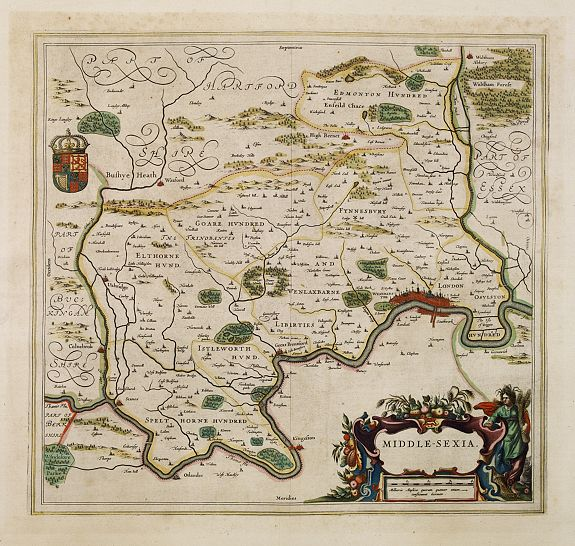 BLAEU, J.,  Middle-sexia., antique map, old maps