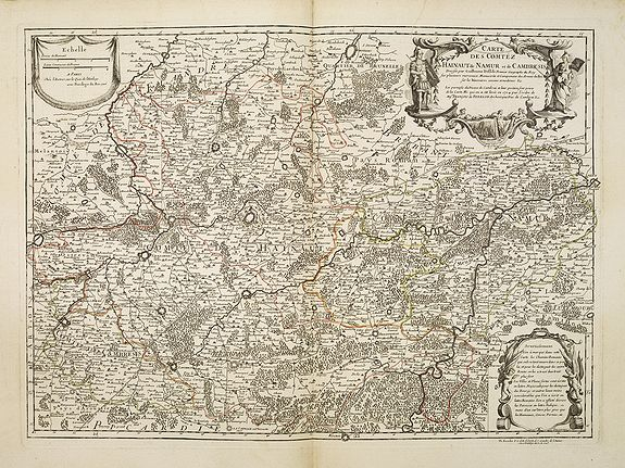 DE L'ISLE / BUACHE, Ph.,  Carte des Comtéz de HAINAUT de NAMUR et de CAMBRESIS., antique map, old maps