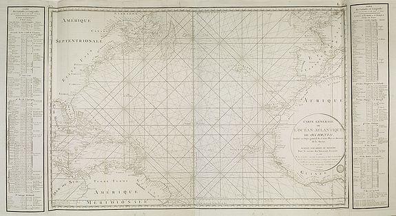 D'APRES DE MANNEVILLETTE. -  Carte générale de l'Océan Atlantique ou occidental, Dresse au depot general des Cartes Plans et Journaux/de la Marine/en 1786