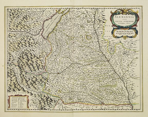 BLAEU,W.,  Alemannia sive Suevia Superior., antique map, old maps
