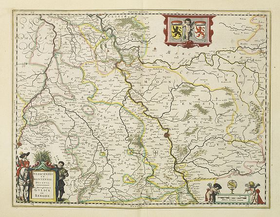 BLAEU,W.,  Iuliacensis et Montensis Ducatus., antique map, old maps