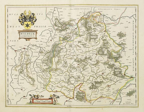 BLAEU, W.,  Waldeck Comitatus., antique map, old maps
