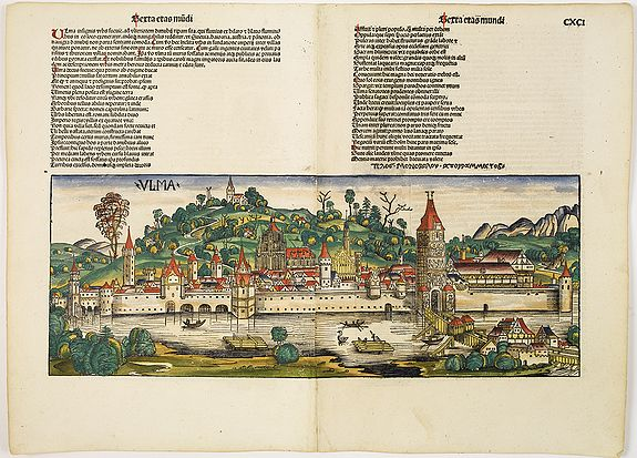 SCHEDEL, H. -  Ulma Folio CXCI   [With view of Ulm.]