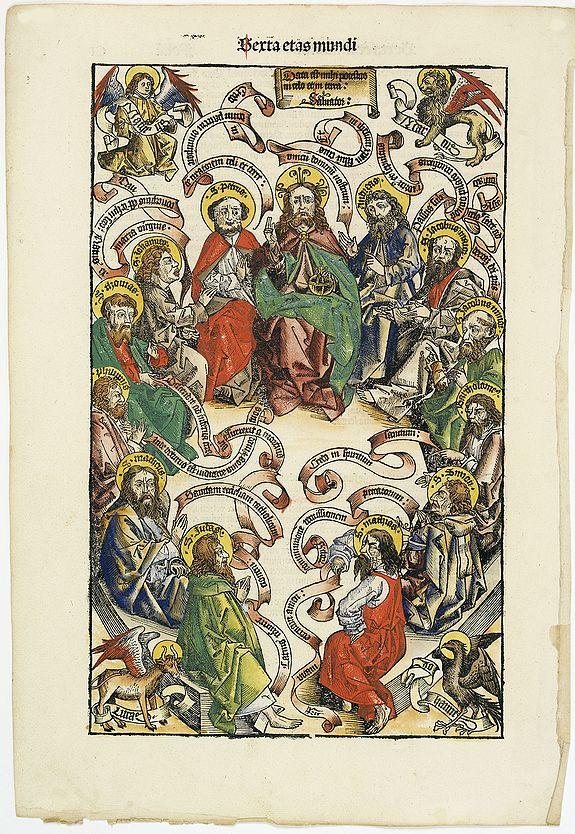 SCHEDEL, H. -  Sexta Etas Mudi. - Data est mihi potestas in celo et in terra: Salvator: CI. (Jesus Christ surrounded by the Twelve Apostles)