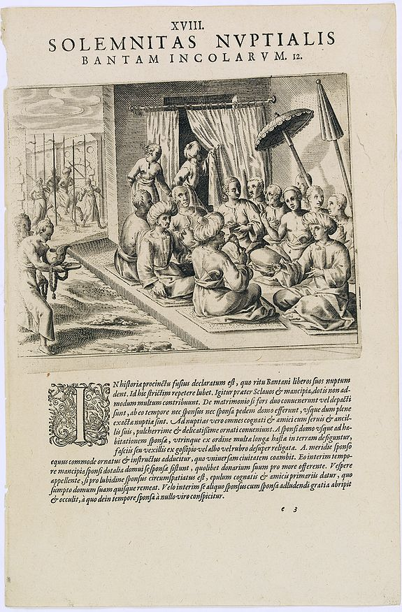 DE BRY, Th. -  Solemnitas Nuptialis Bantam Incolarum. (A wedding ceremony in the city of Bantam)