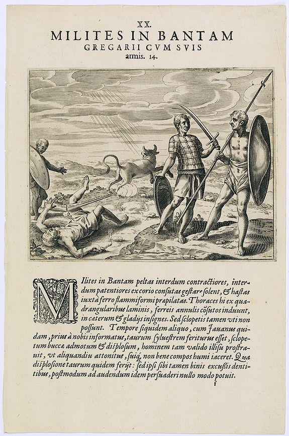 DE BRY, Th. -  Milites in Bantam Gregarii Gum Suis armis. (Warriors of Bantam)