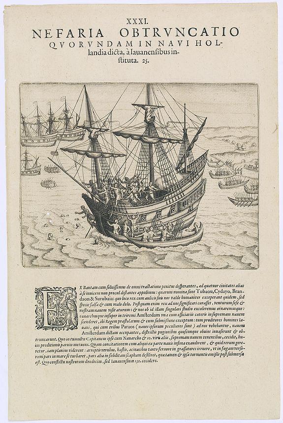 DE BRY, Th. -  Nefaria Obtruncatio Quorundam in Navi Hollandia.