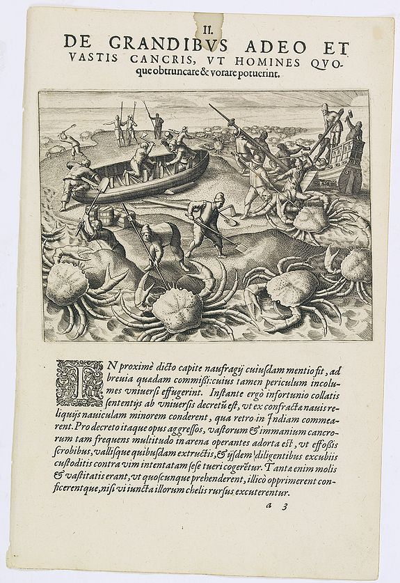 DE BRY, Th. -  De Grandibus Adeo et Vastis Cancris. (Giant crabs)