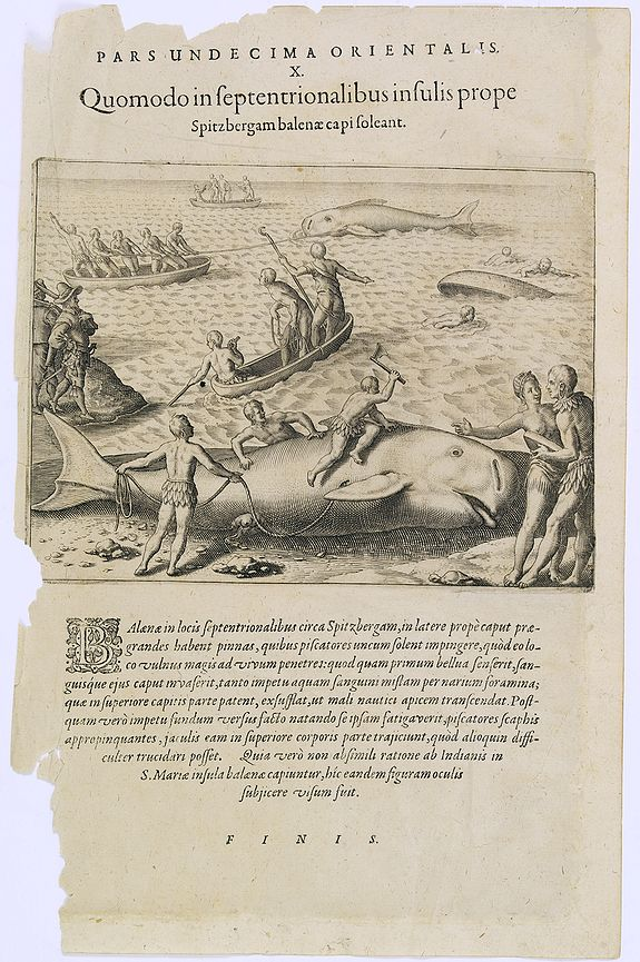DE BRY, Th.,  Pars Undecima Orientalis X. Quomodo in Septentrionalibus insulis prope. (How the inhabitants catch whales off the east coast of Madagascar.), antique map, old maps