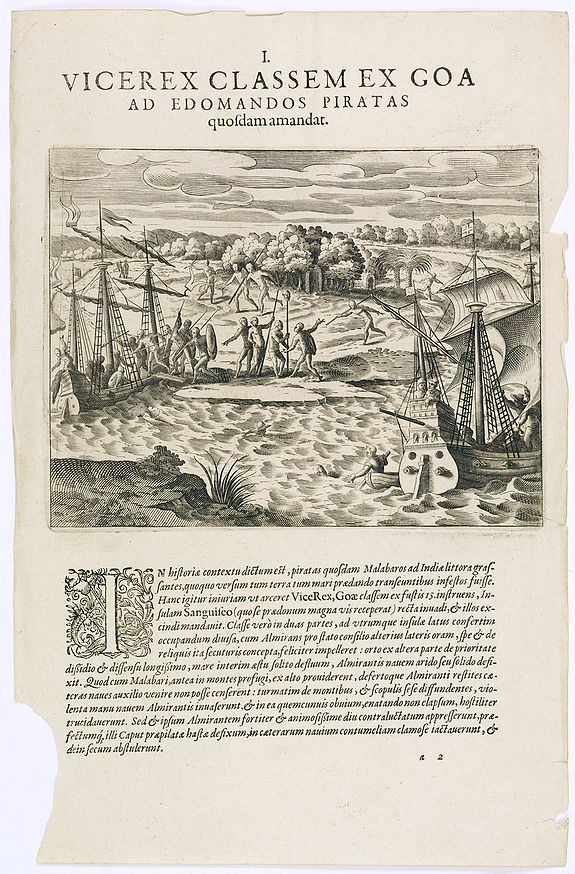 DE BRY, Th. -  Vicerex Classem Ex Goa. ( An encounter with pirates on the Malabar coast.)