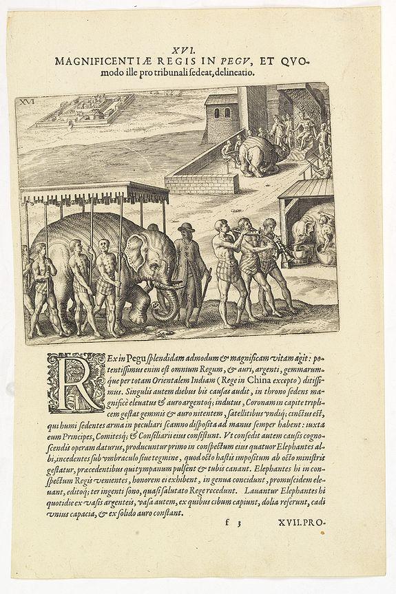 DE BRY, Th. -  XVI. Magnificentiae Regis In Pegu, et Quomodo. . .
