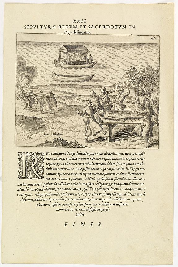 DE BRY, Th. -  XXII. Sepulturae Regum et Sacerdotum in Pegu delineatio. (The funerals of kings and priests in Pegu)
