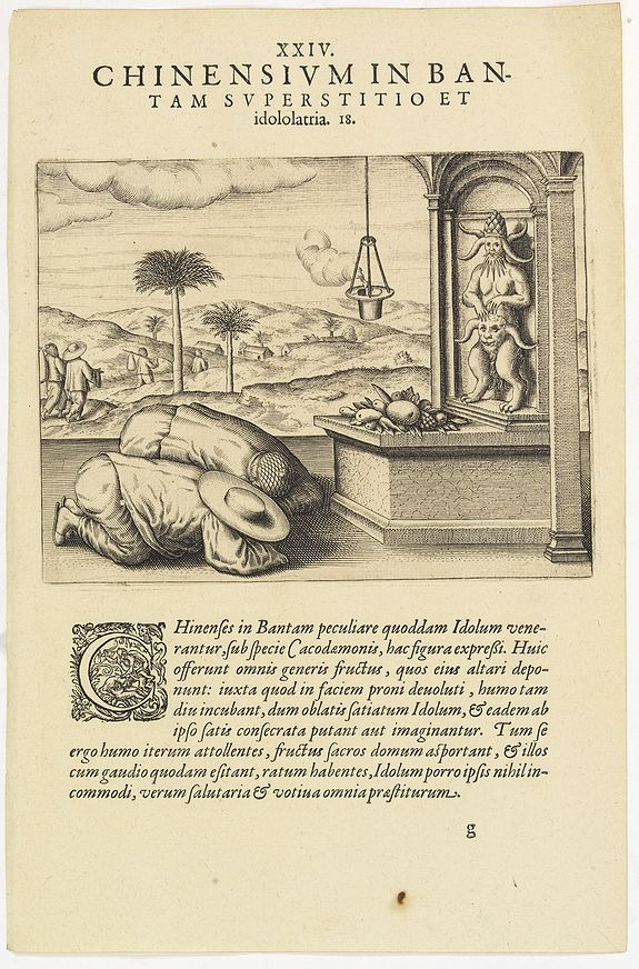 DE BRY, Th. -  Chinensium in Bantam Superstitio et idololatria. 18. ( How the Chinese worship their idols in Bantam)