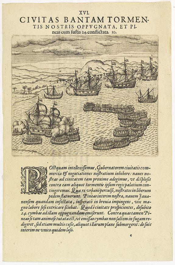 DE BRY, Th. -  XVI. Civitas Bantam Tormentis nostris oppugnata . . .