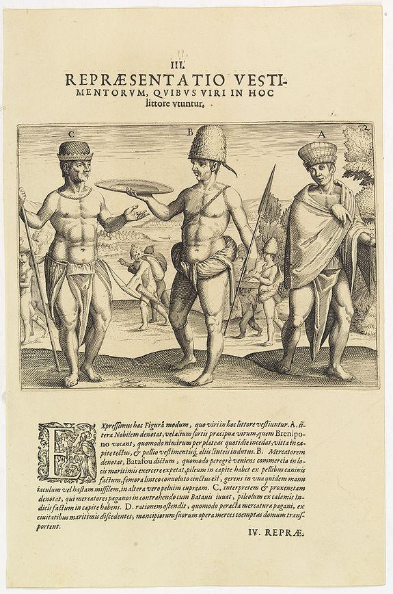 DE BRY, Th. -  III. Repraesentatio Vestimentorum Quibus Viri in Hoc littore Utuntur. (Male clothing styles at the Gold Coast)