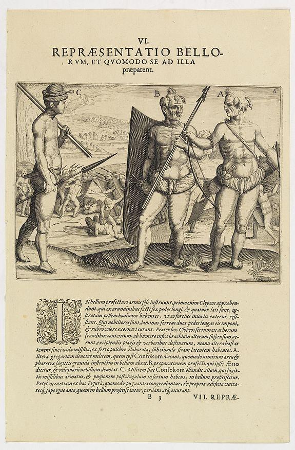 DE BRY, Th. -  VI. Repraesentatio  Bellorum, et Quomodo se ad Illa praeparent. (How the natives fight each other)