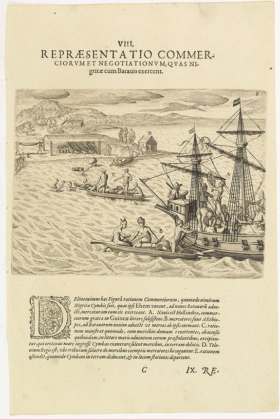 DE BRY, Th. -  VIII. Repraesentatio Commerciorum et Negotiationum, Quas Nigritae cum Batauis exercent.