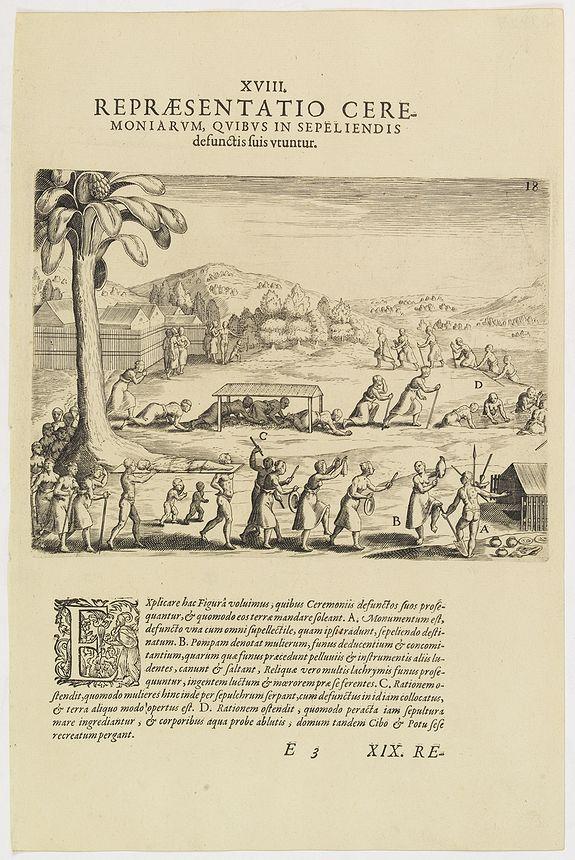 DE BRY, Th. -  XVIII. Repraesentatio Ceremoniarum, Quibus in Sepeliendis defunctis fuis Utuntur.