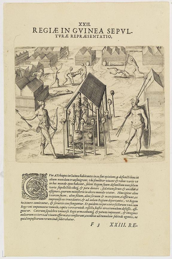 DE BRY, Th. -   XXII. Regiae in Guinea Sepulturae Repraesentatio.