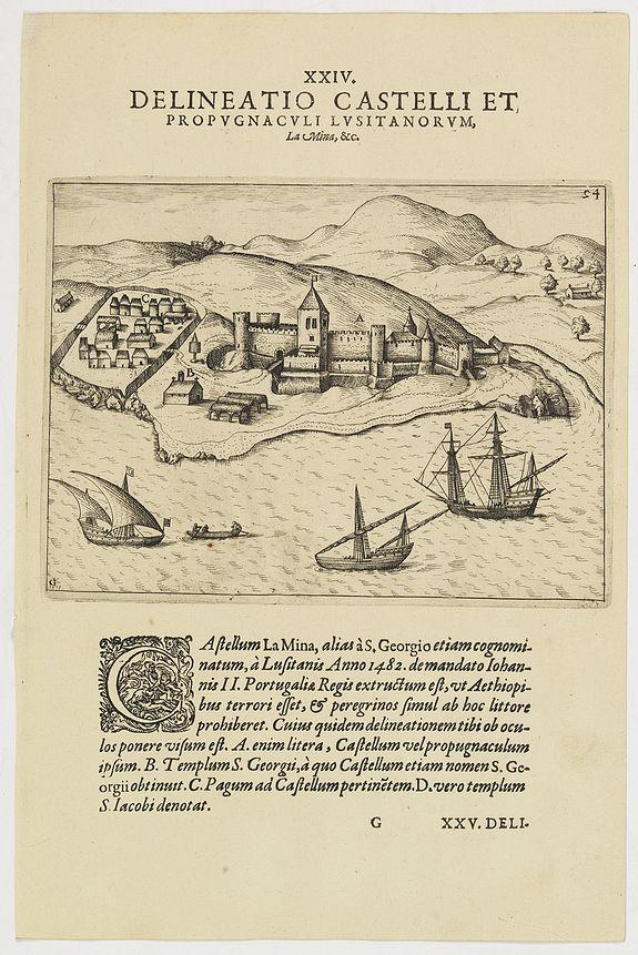 DE BRY, Th. -   XXIV. Delineatio Castelli et Propugnaculi Lusitanorum, La Mina, &c. (Elmina Castle)
