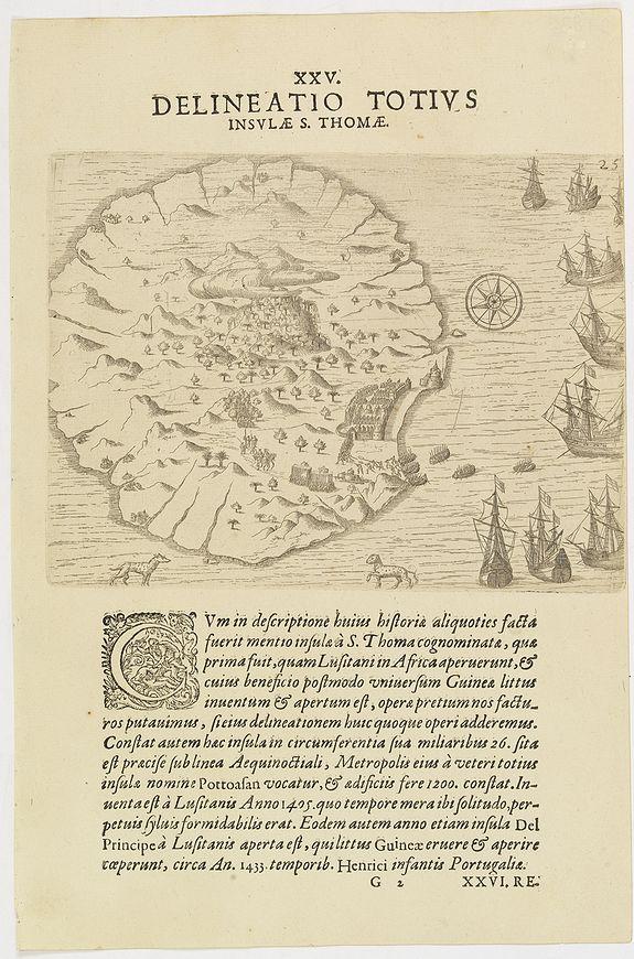 DE BRY, Th. -   XXV. Delineatio Totius Insulae S. Thomae.
