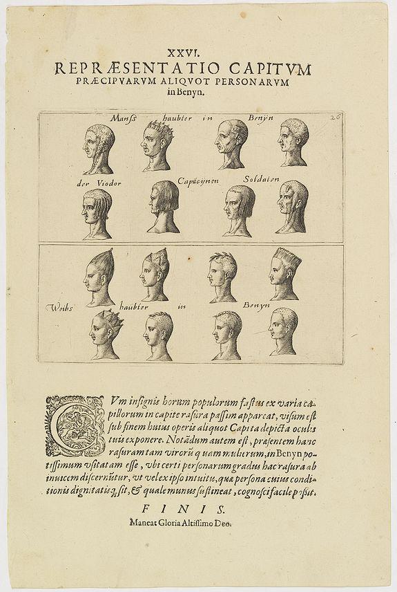 DE BRY, Th. -  XXVI. Repraesentatio Capitum Praecipuarum Aliquot Personarum in Benyn.