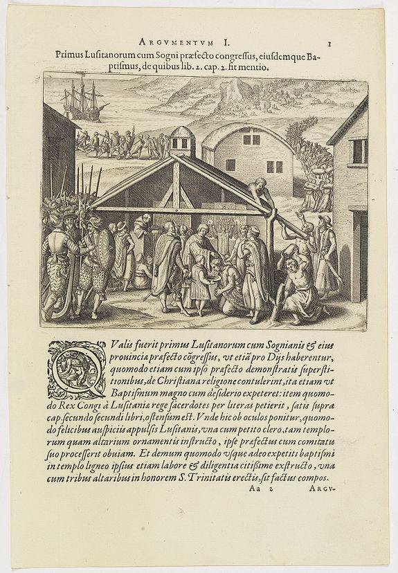 DE BRY, Th. -   Argumentum I. Primus Lufitanorum cum Sogni praefecto congreffus, eiusdemque Baptismus, de quibus lib. 2 cap 2. fit mentio. (The arrival of the Portuguese in the county Sogno)