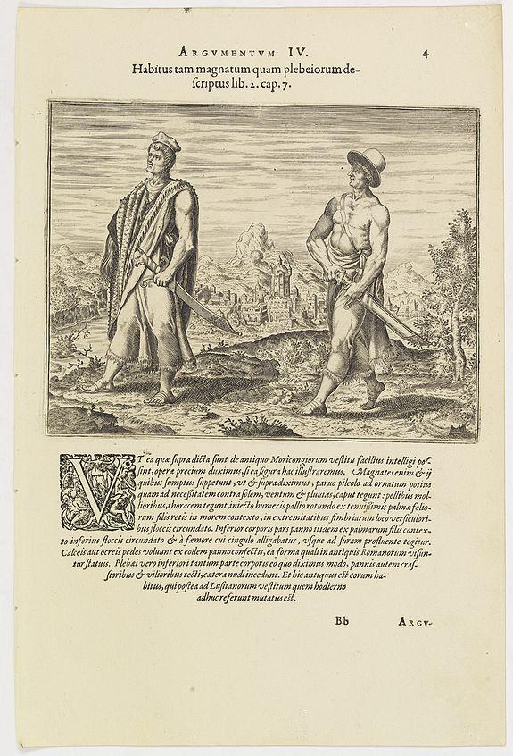 DE BRY, Th. -  Argumentum IV. Habitus tam magnatum quam plebeiorum descriptus lib. 2 cap. 7. (How the Congolese men dress)