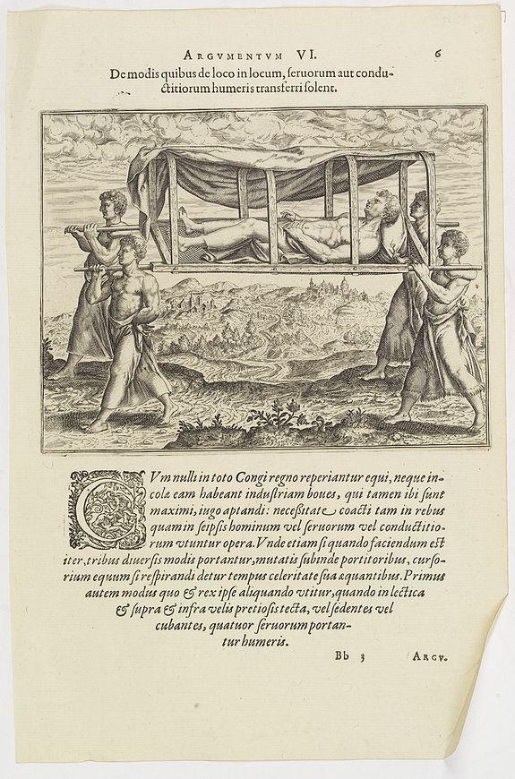 DE BRY, Th. -  Argumentum VI. De modis quibus de loco in locum, feruorum aut conductitiorum humeris transferri Folent. (How the Congolese are transported)