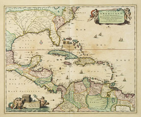 VISSCHER, N.,  Insulae Americanae in Oceano Septentrionali. . ., antique map, old maps