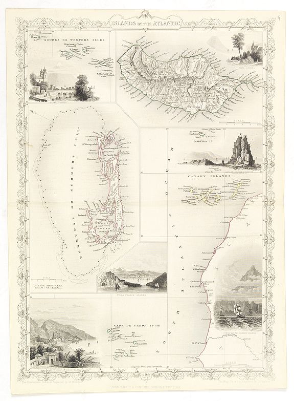 TALLIS, J.,  Islands in the Atlantic., antique map, old maps