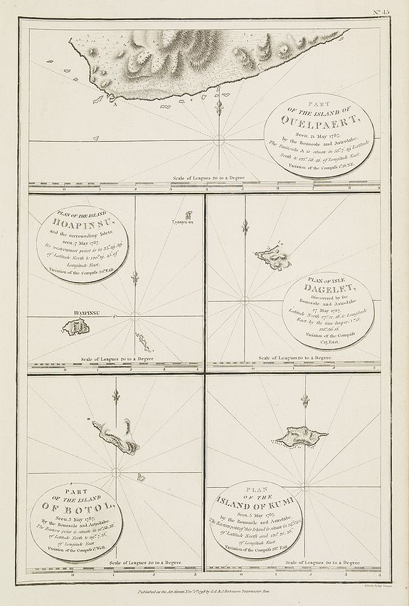 LA PEROUSE, Jean Francois Galoup,  Part of the island of Quelpart seen 21 may 1787. . . [5 maps on one sheet], antique map, old maps