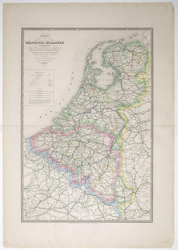GRANGE, E. -  Carte de Belgique et Hollande indiquant Les routes de poste avec la Distance entre chaque Relais, les chemin fer. . . Dressée par Ernest Granger. . . . Nouvelle édition.