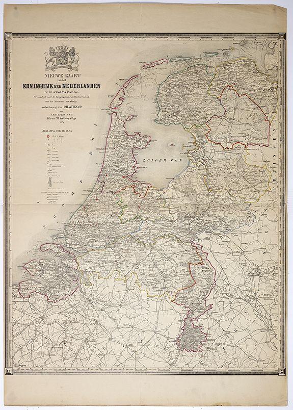 WITKAMP, P.H. -  Nieuwe kaart van het Koningrijk der Nederlanden. . .